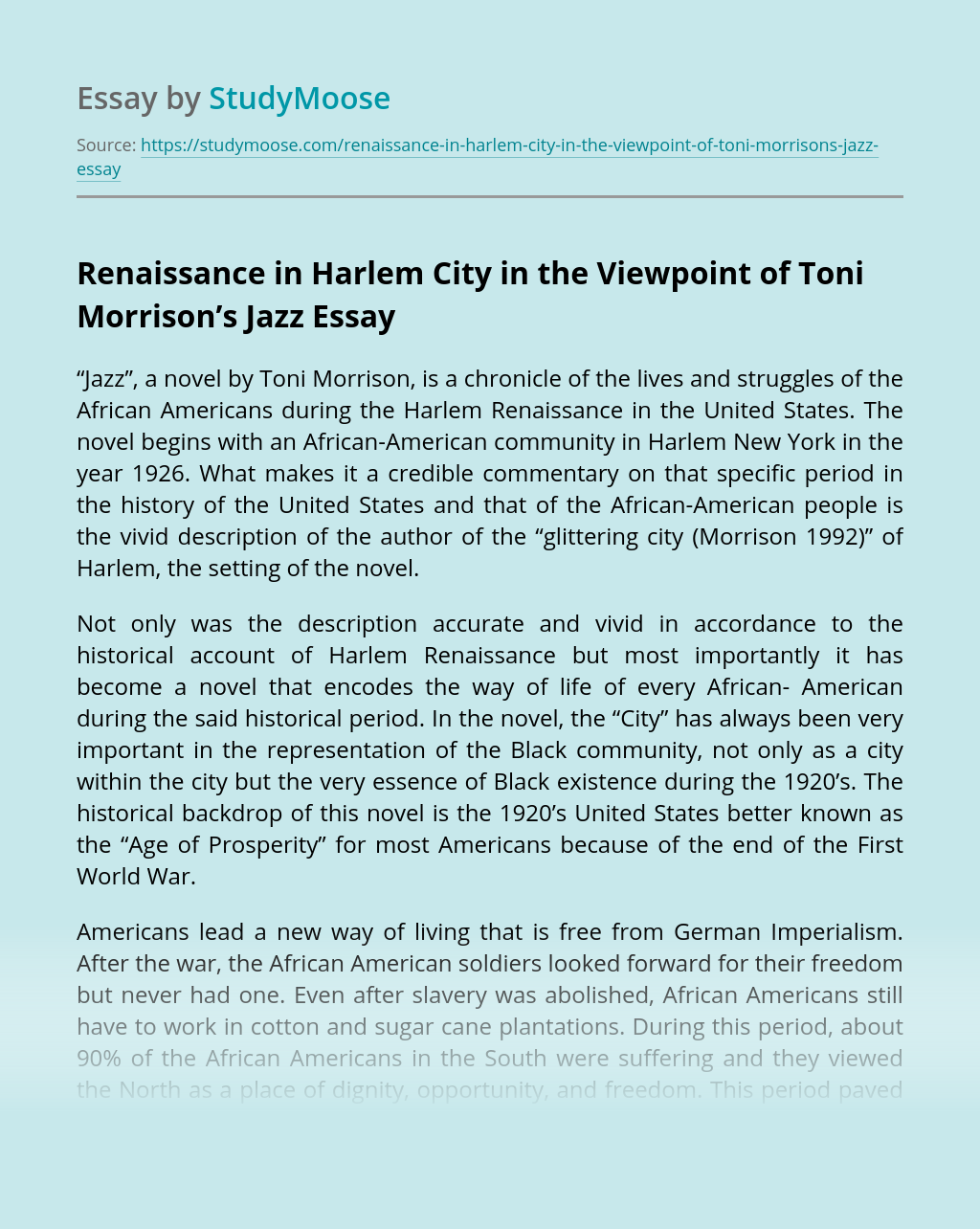 Renaissance in Harlem City in the Viewpoint of Toni Morrison's Jazz