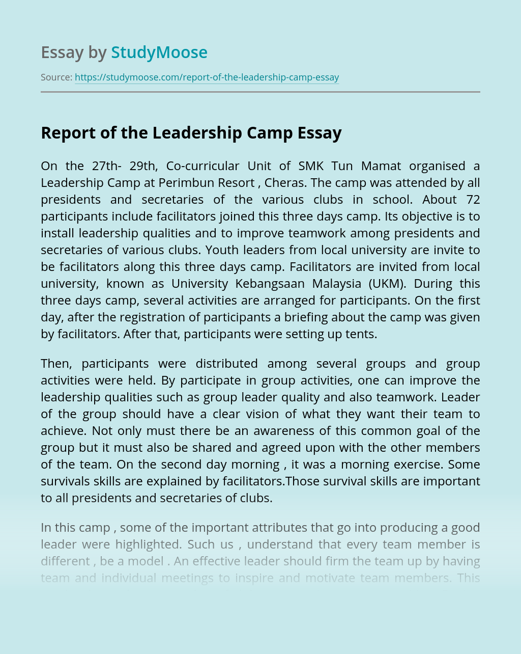 Report of the Leadership Camp