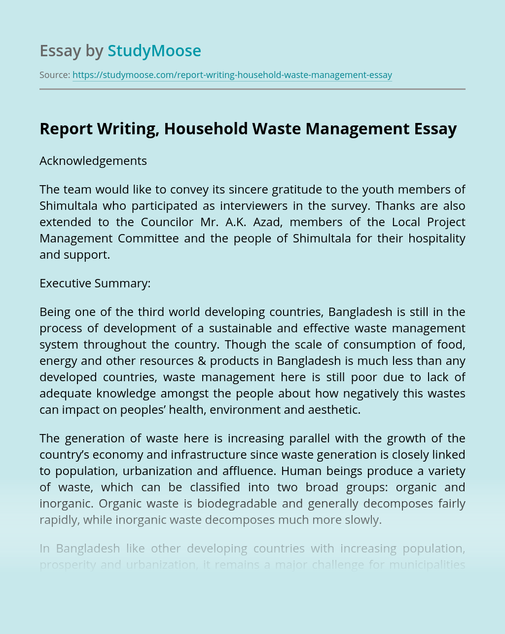 Report Writing, Household Waste Management