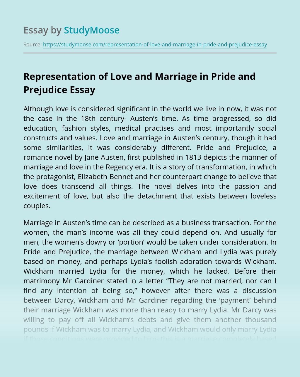 Representation of Love and Marriage in Pride and Prejudice