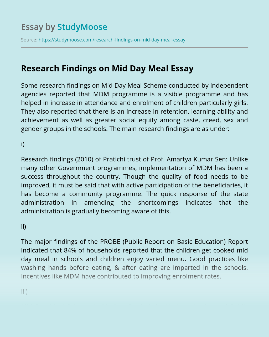 Research Findings on Mid Day Meal