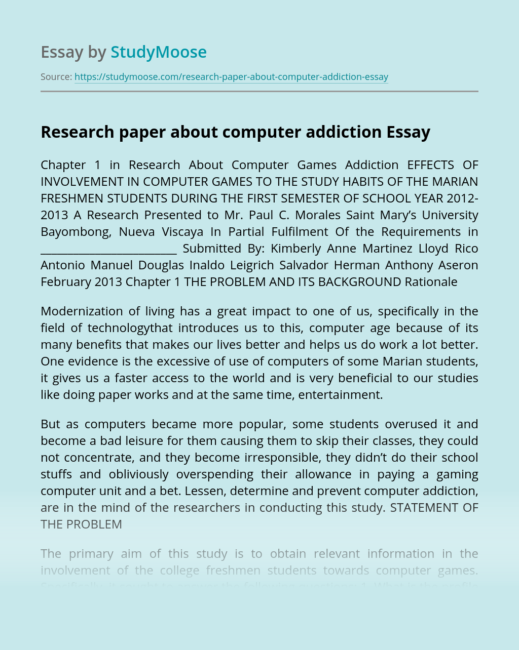 Research paper about computer addiction