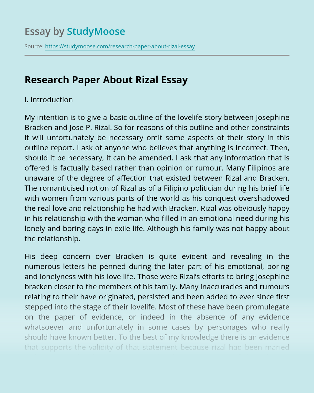 Research Paper About Rizal