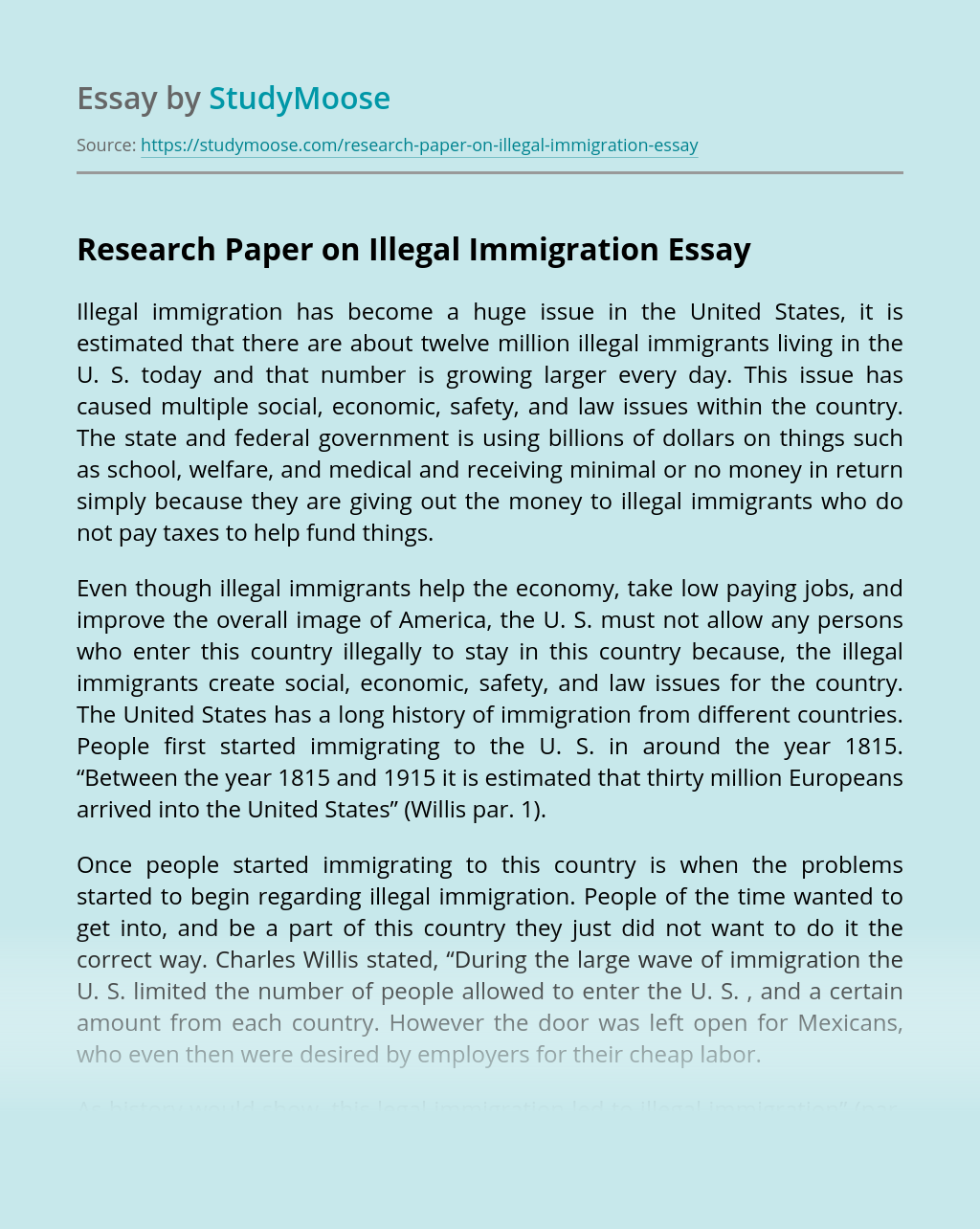 Research Paper on Illegal Immigration