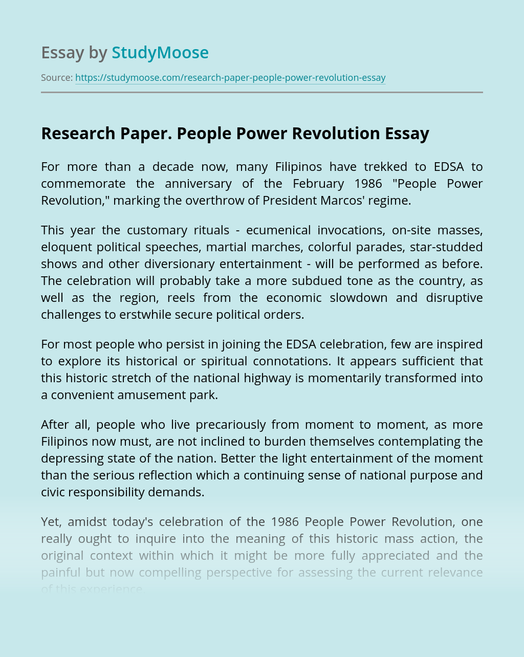 Research Paper. People Power Revolution