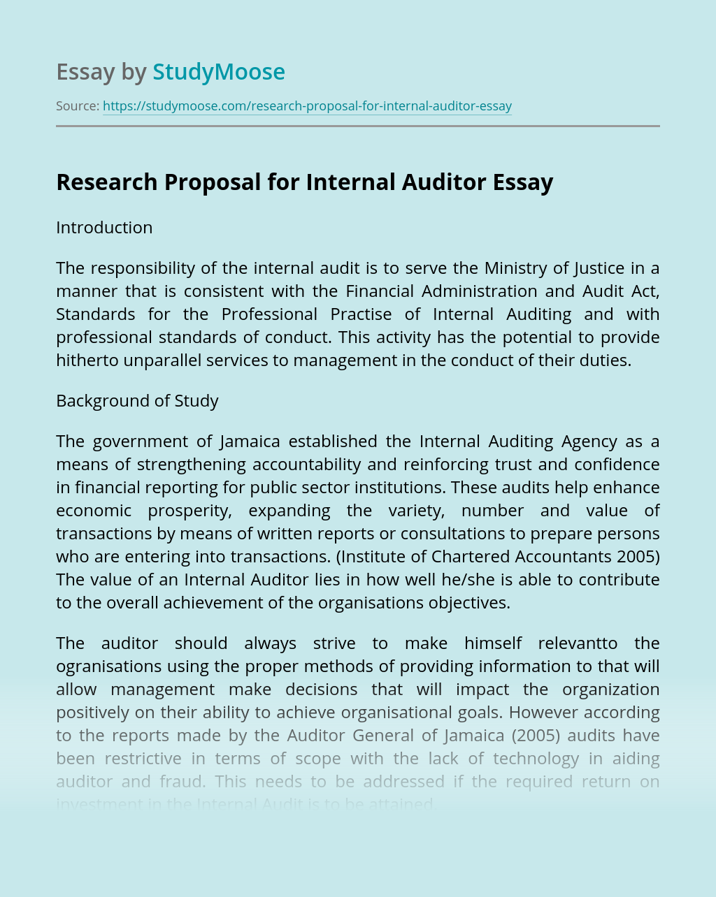 Research Proposal for Internal Auditor