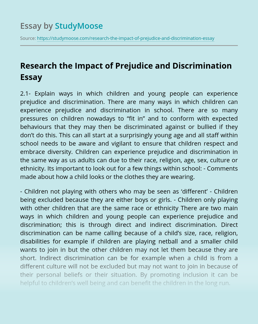 Research the Impact of Prejudice and Discrimination