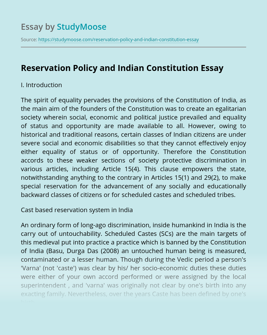 Reservation Policy and Indian Constitution