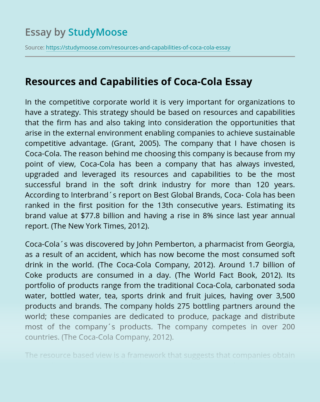 Resources and Capabilities of Coca-Cola
