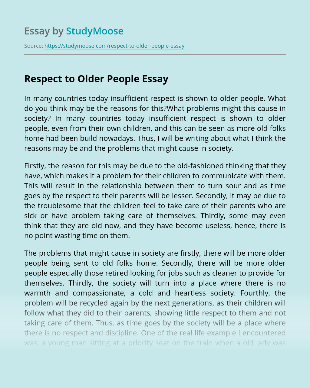 Respect to Older People