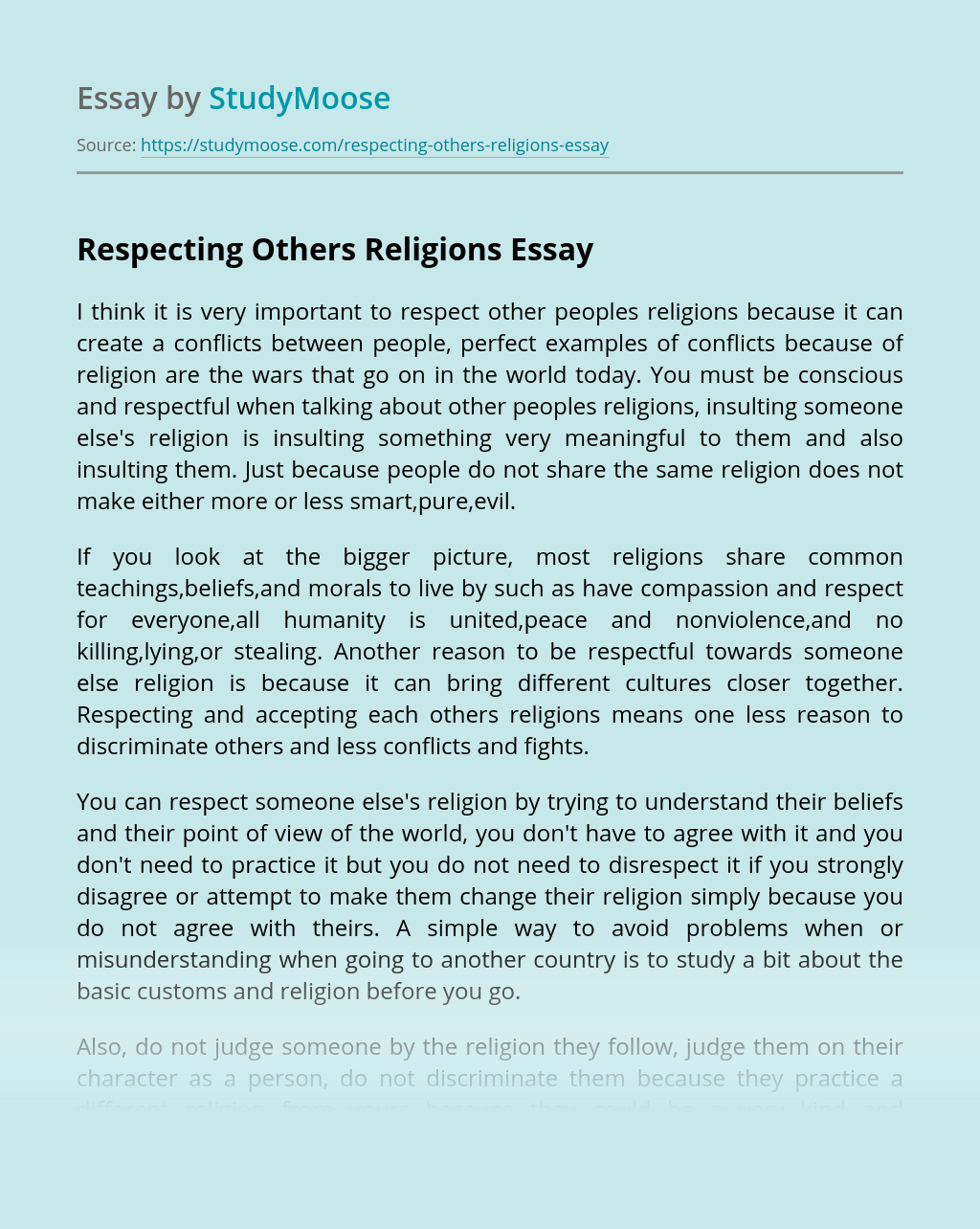 Respecting Others Religions