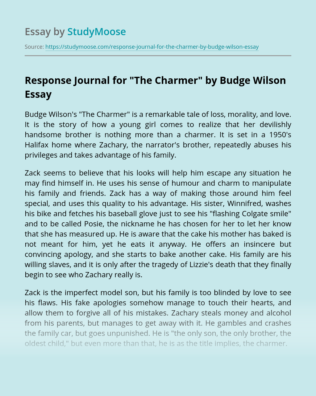 Response Journal for The Charmer by Budge Wilson