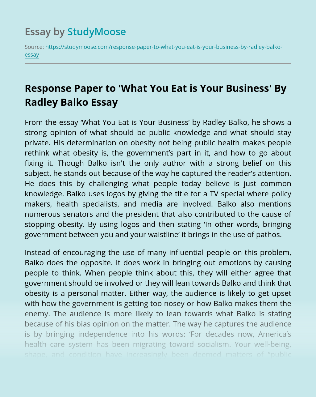 Response Paper to 'What You Eat is Your Business' By Radley Balko