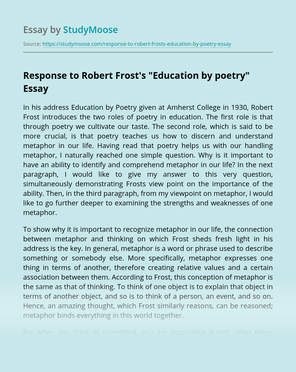 "Response to Robert Frost's ""Education by poetry"""