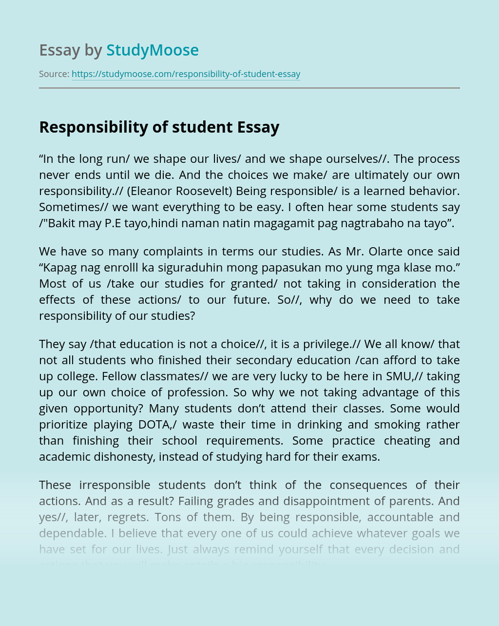 Responsibility of student