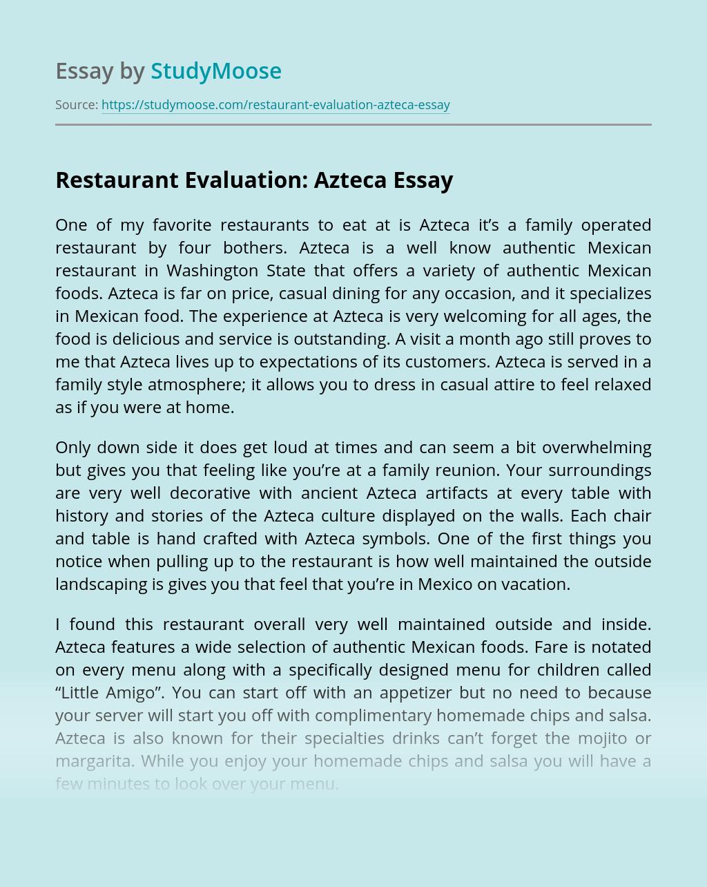 Restaurant Evaluation: Azteca