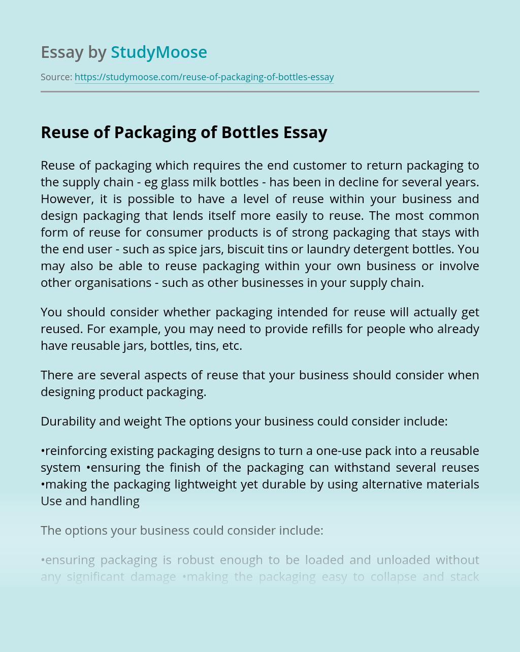 Reuse of Packaging of Bottles
