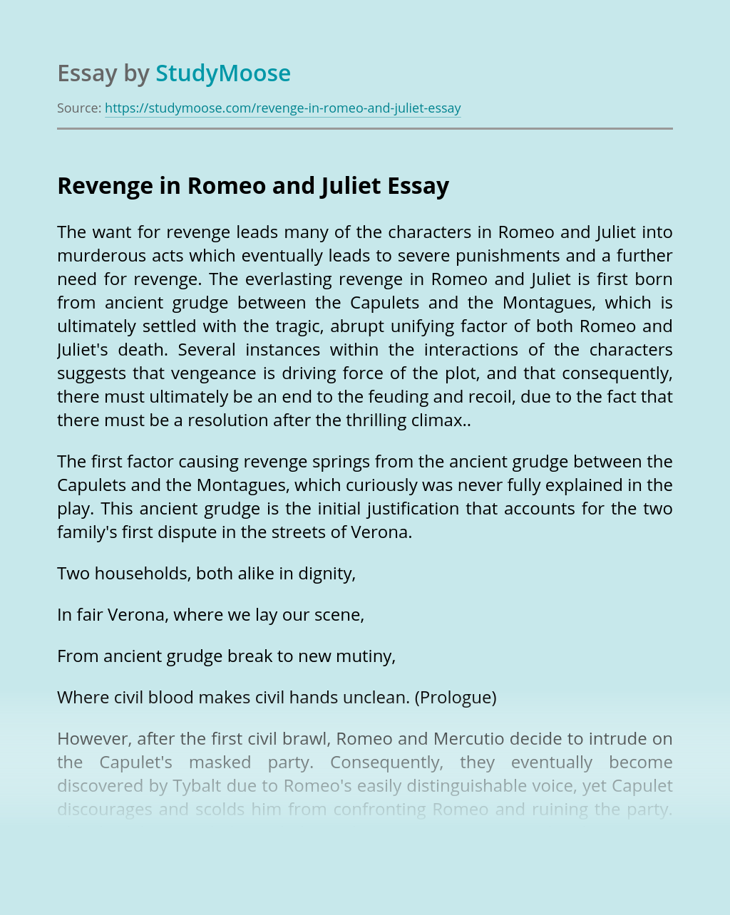 Revenge in Romeo and Juliet