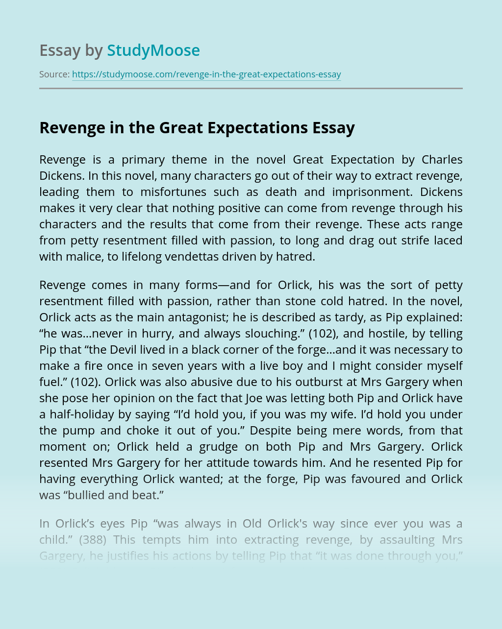 Revenge in the Great Expectations
