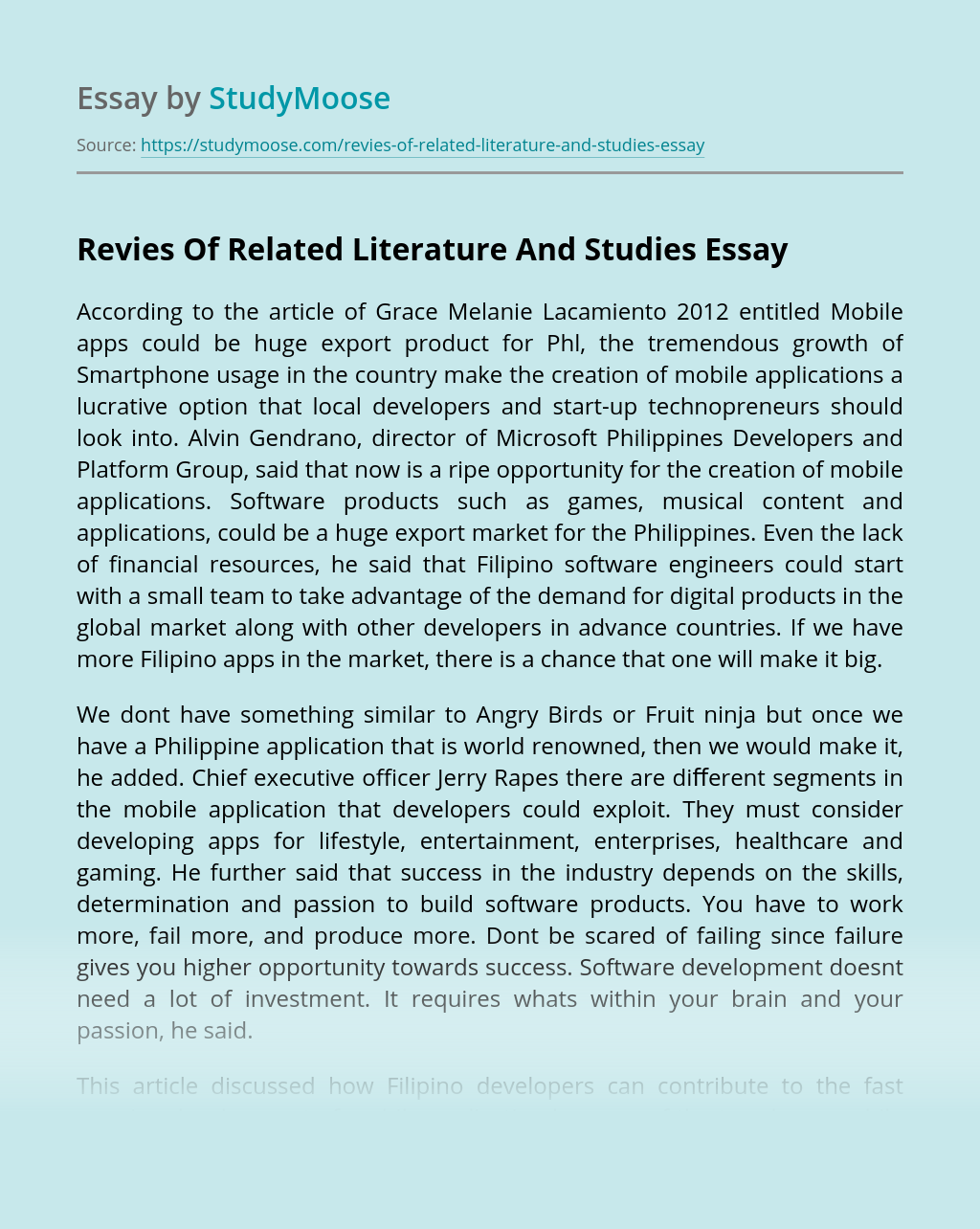 Revies Of Related Literature And Studies