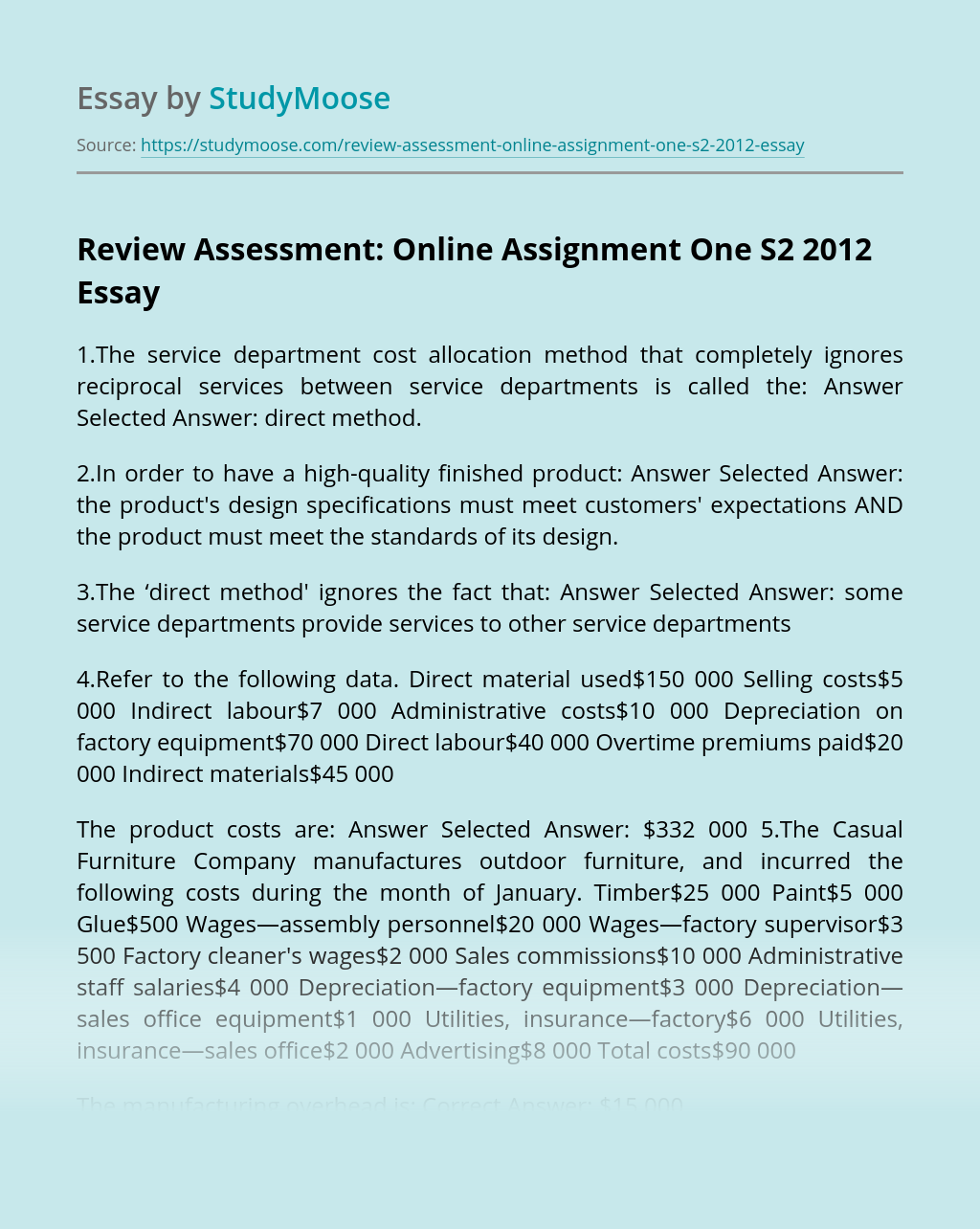 Review Assessment: Online Assignment One S2 2012