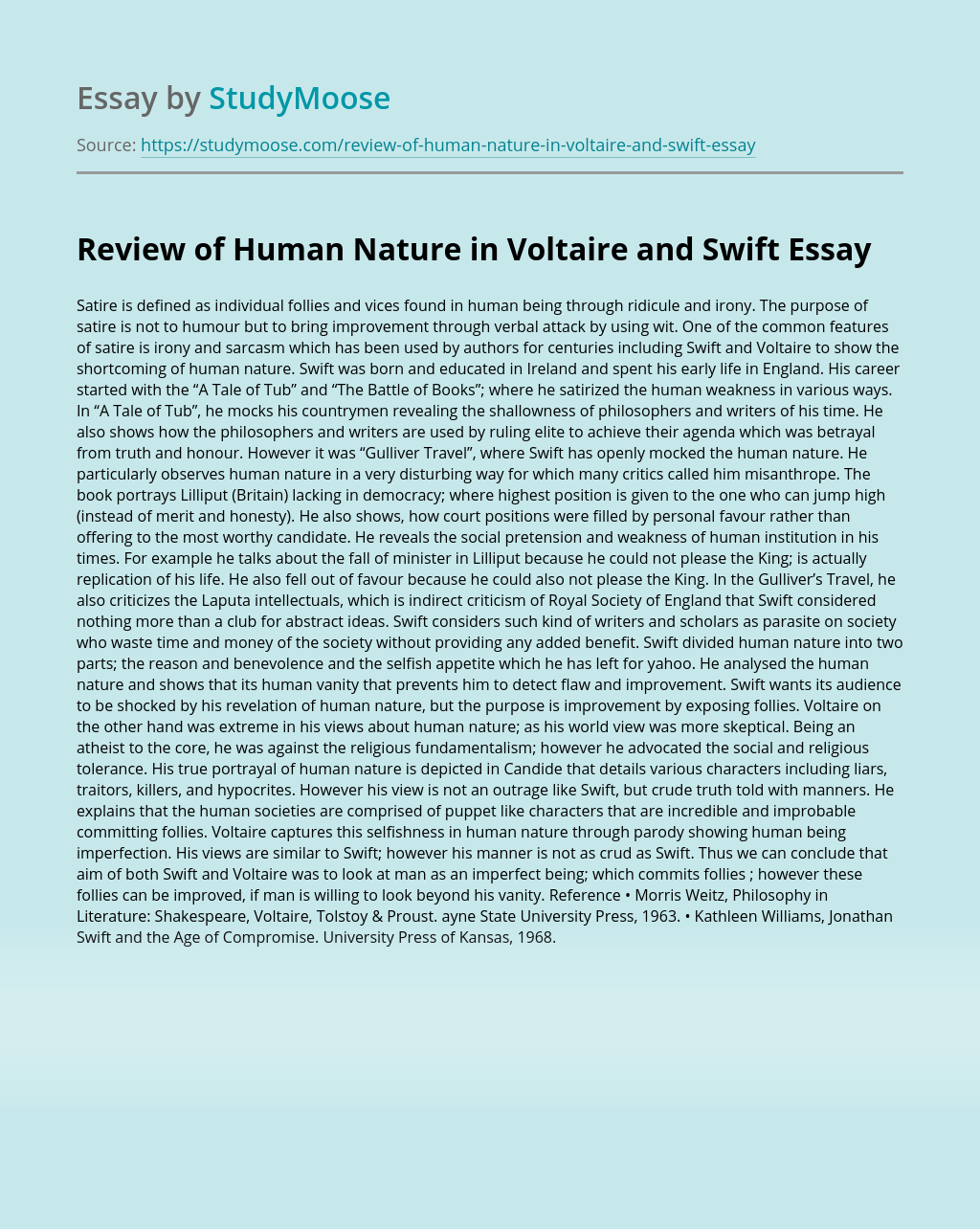 Review of Human Nature in Voltaire and Swift