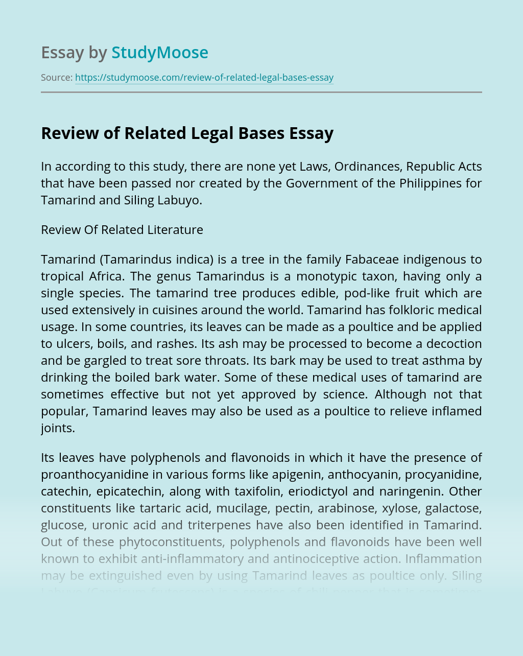 Review of Related Legal Bases