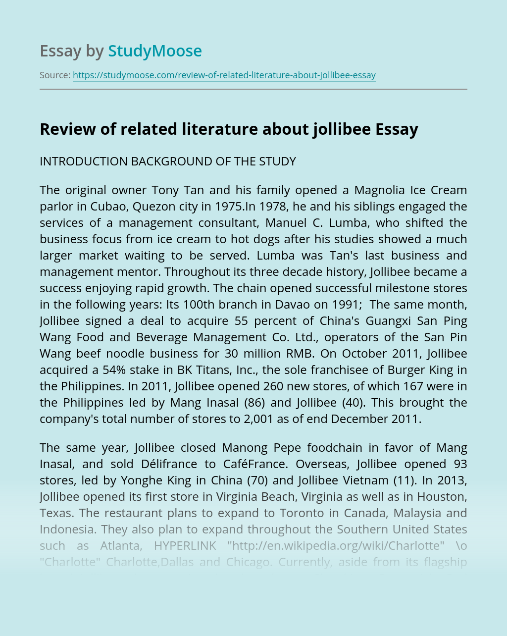 Review of related literature about jollibee