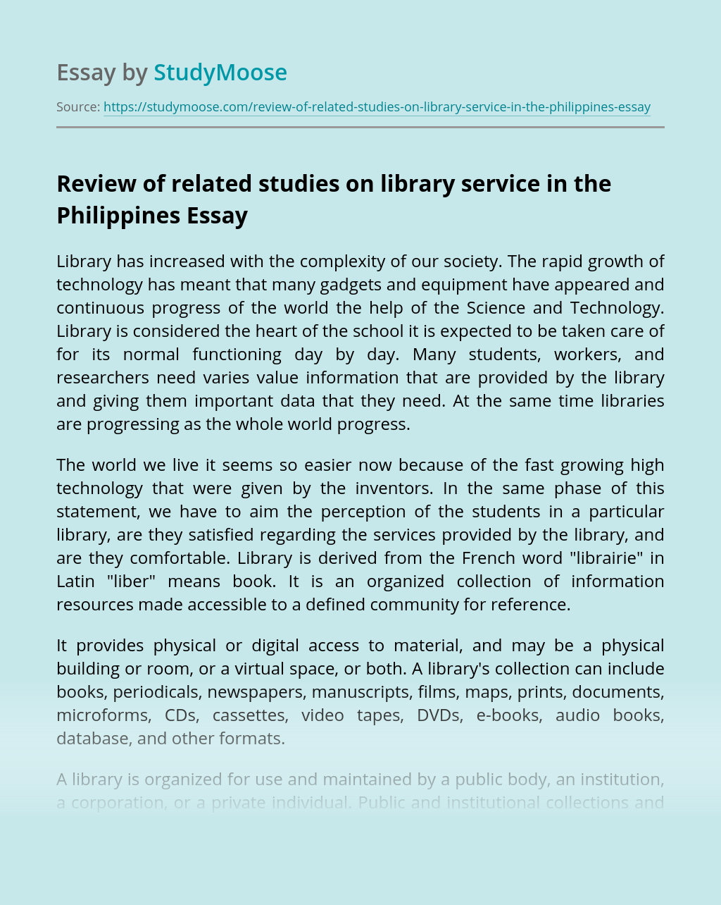 Review of related studies on library service in the Philippines