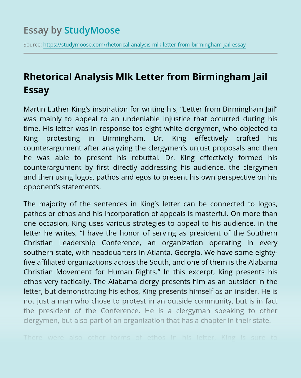 Rhetorical Analysis Mlk Letter from Birmingham Jail