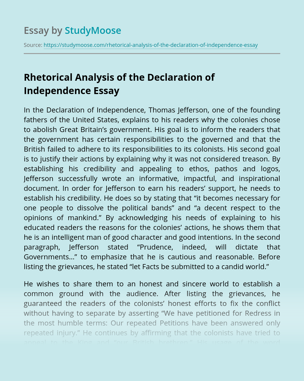 Rhetorical Analysis of the Declaration of Independence