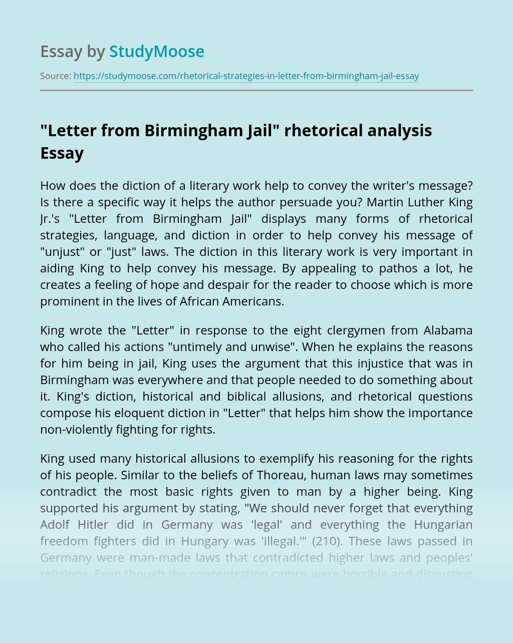 """""""Letter from Birmingham Jail"""" rhetorical analysis"""