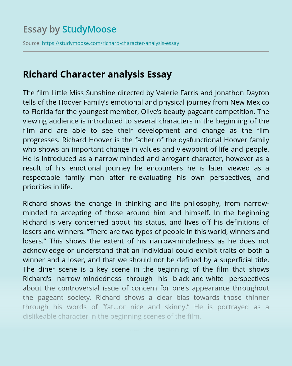 Richard Character analysis