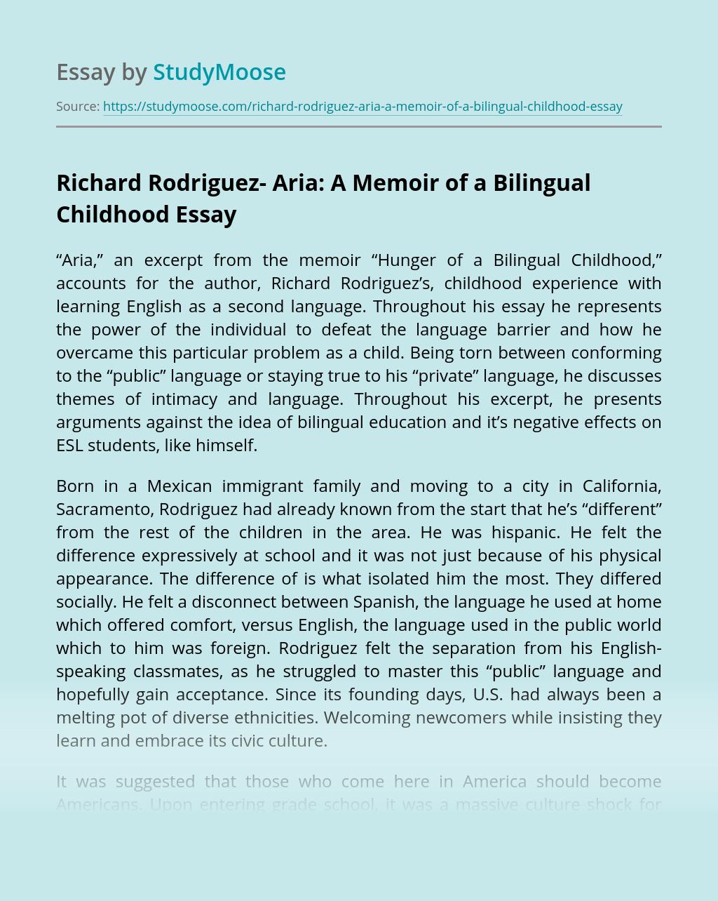 Richard Rodriguez- Aria: A Memoir of a Bilingual Childhood