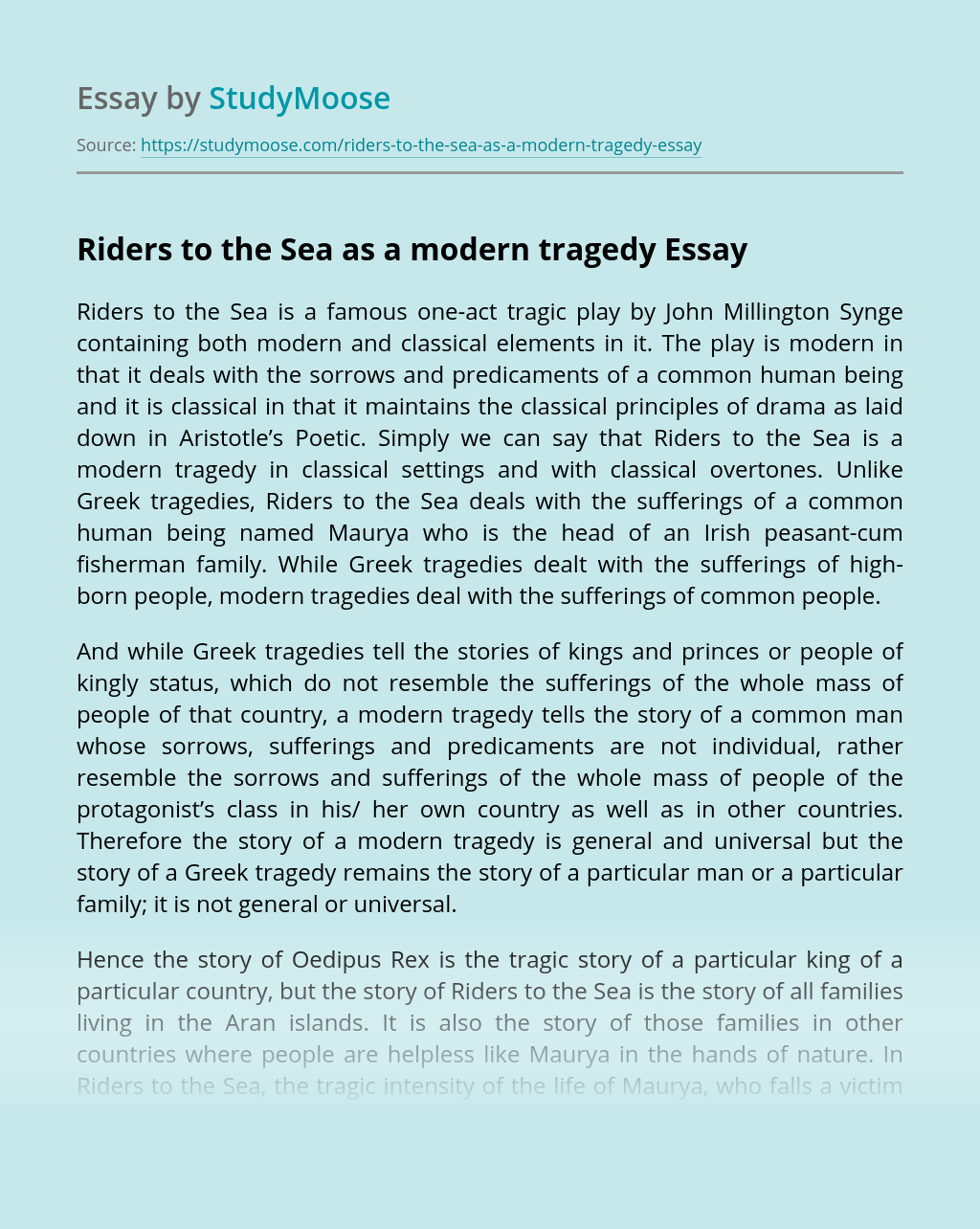 Riders to the Sea as a modern tragedy