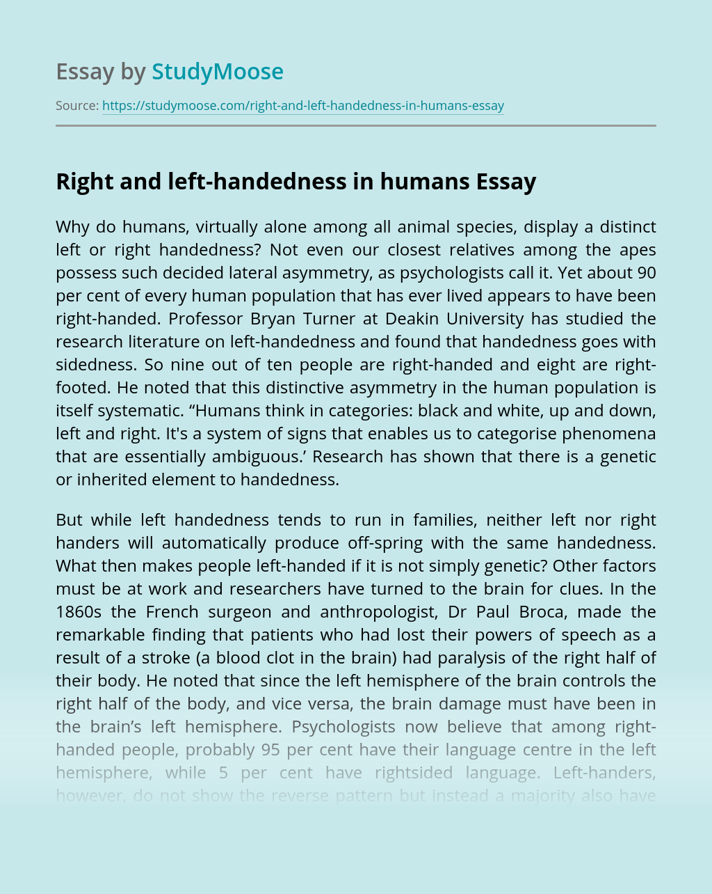 Right and left-handedness in humans