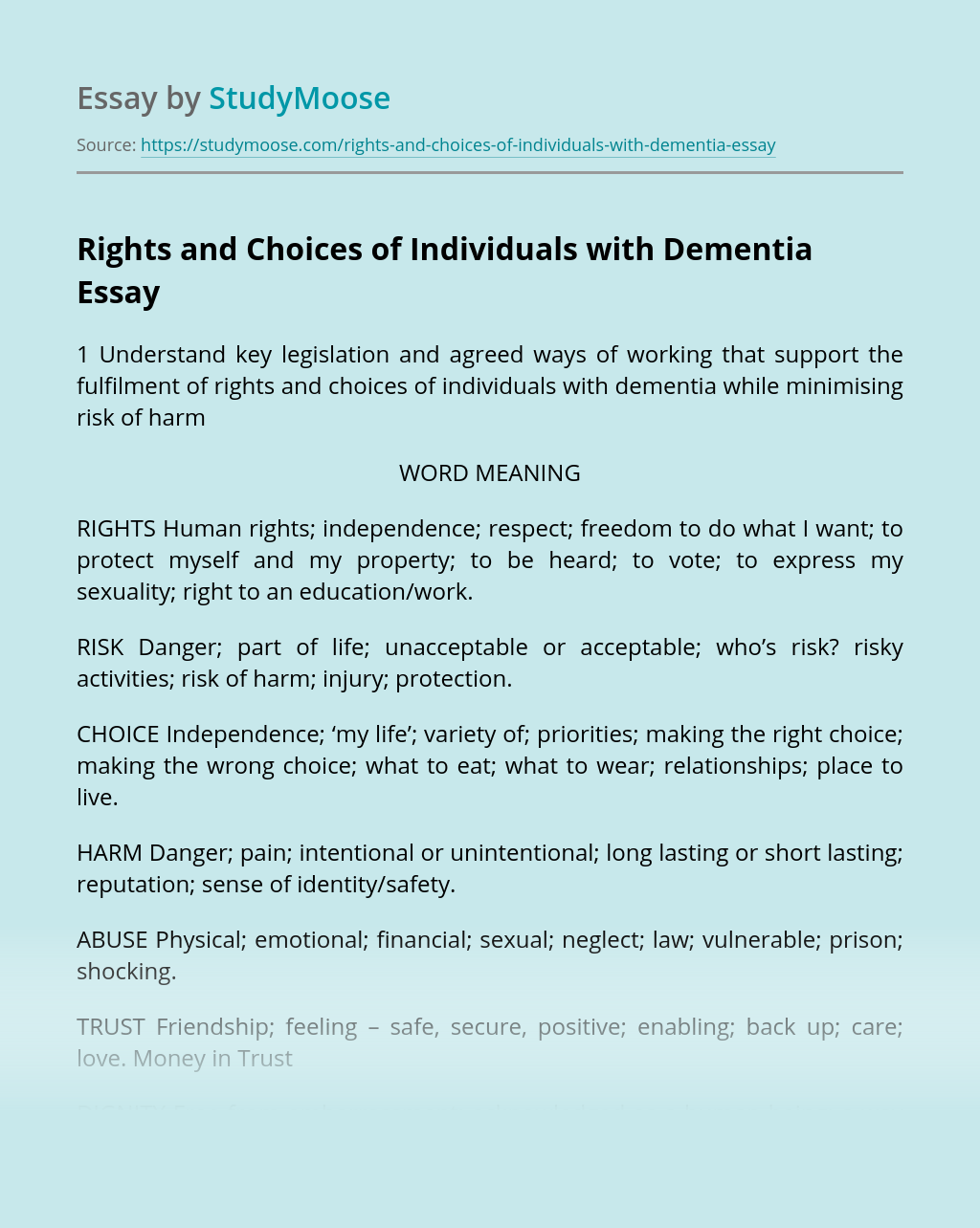 Rights and Choices of Individuals with Dementia