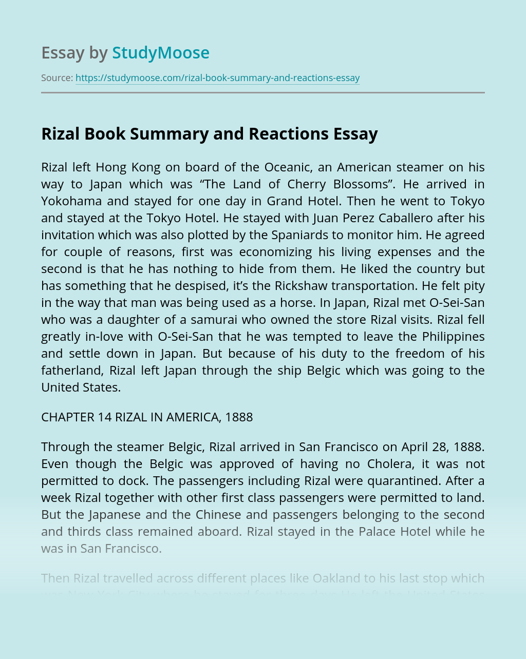 Rizal Book Summary and Reactions