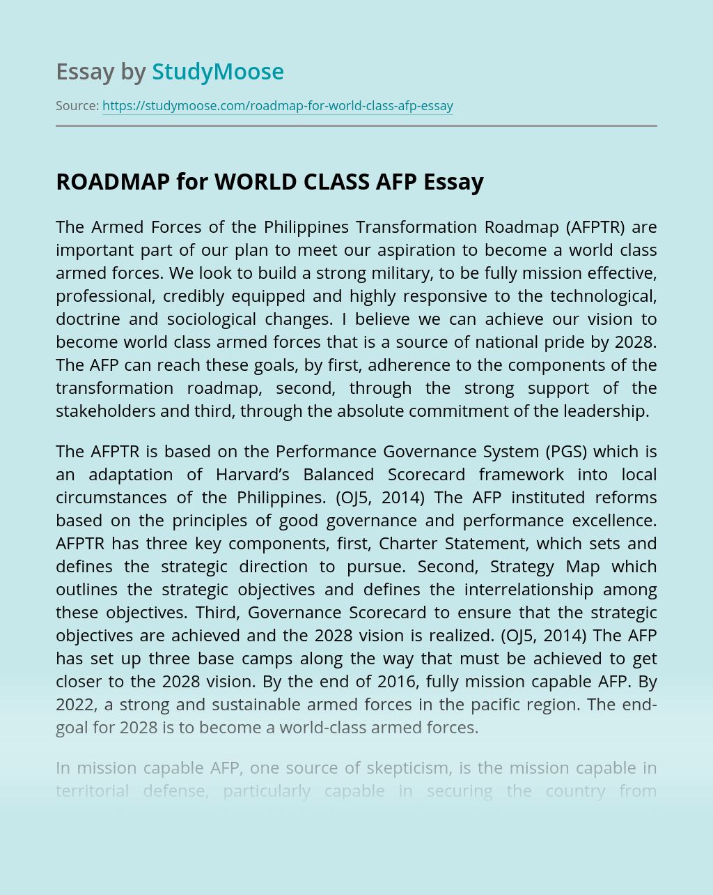 ROADMAP for WORLD CLASS AFP