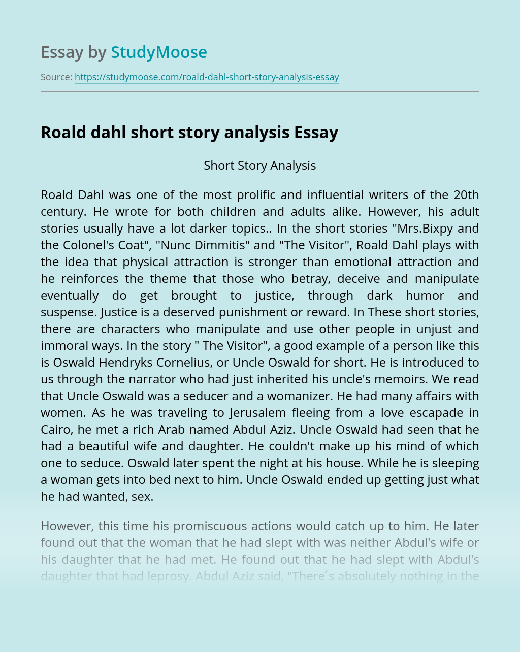 Roald dahl short story analysis
