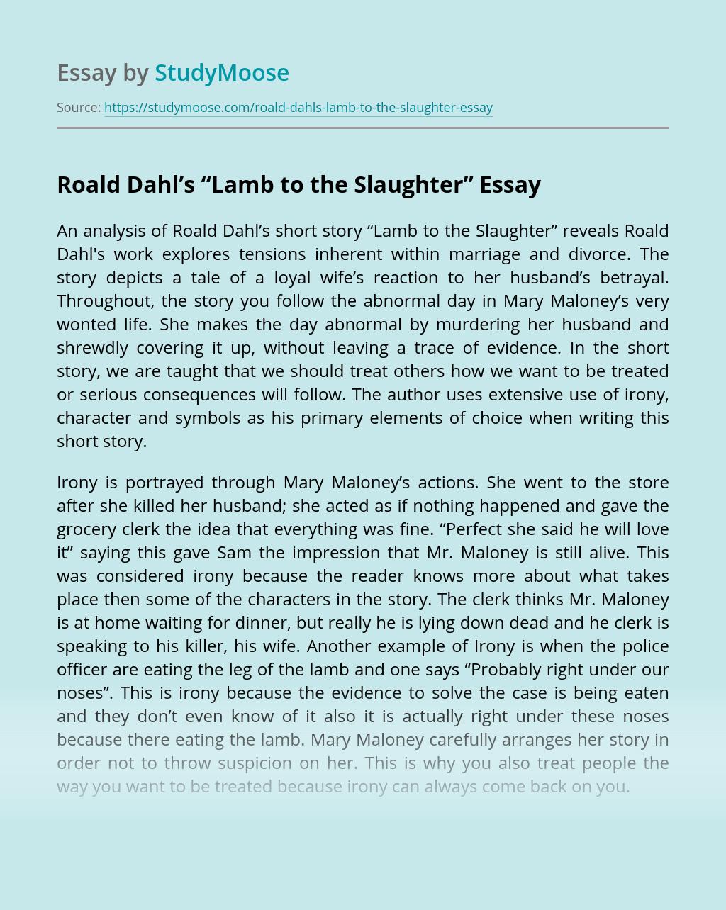 """An analysis of Roald Dahl's """"Lamb to the Slaughter"""""""