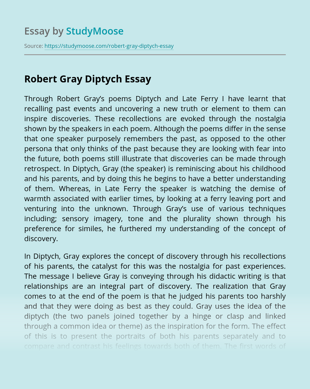 Robert Gray Diptych