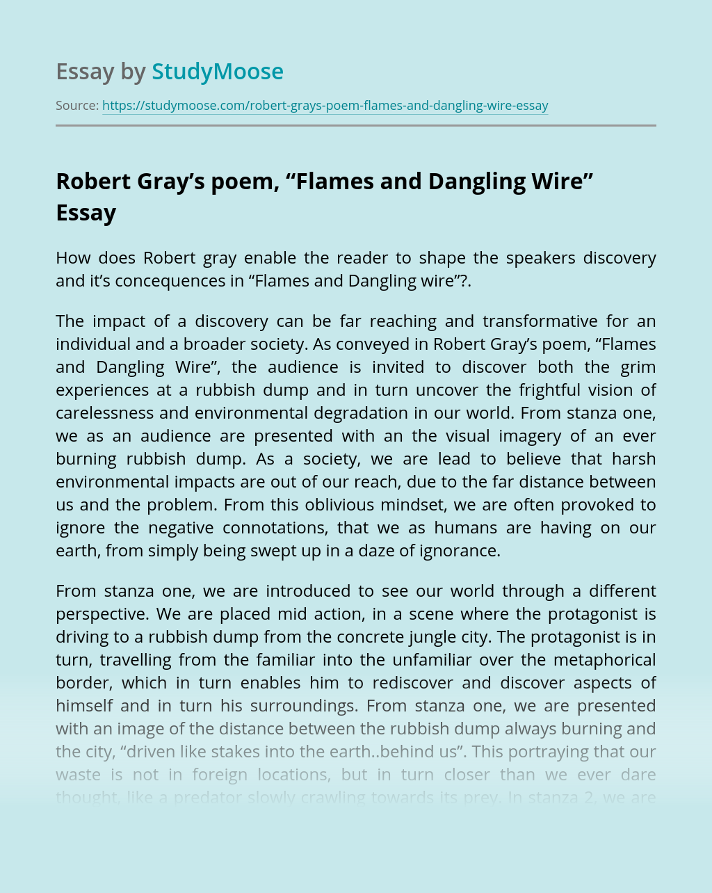"""Robert Gray's poem, """"Flames and Dangling Wire"""""""