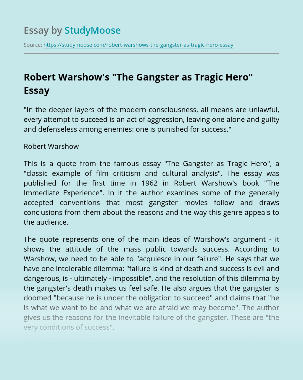Robert Warshow S The Gangster As Tragic Hero Free Essay Example