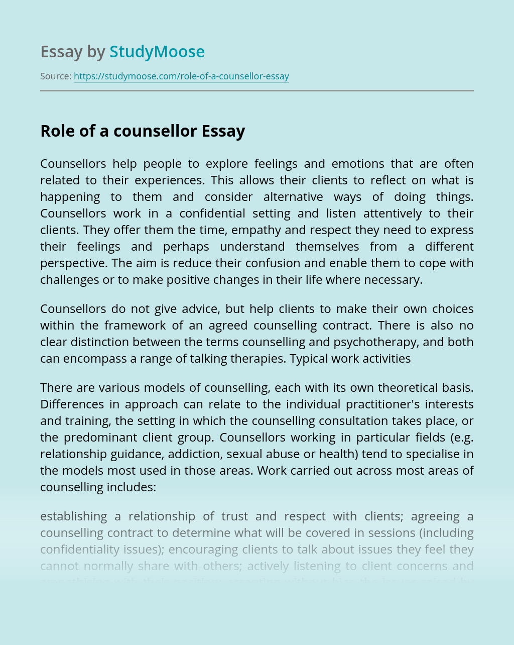 Role of a counsellor