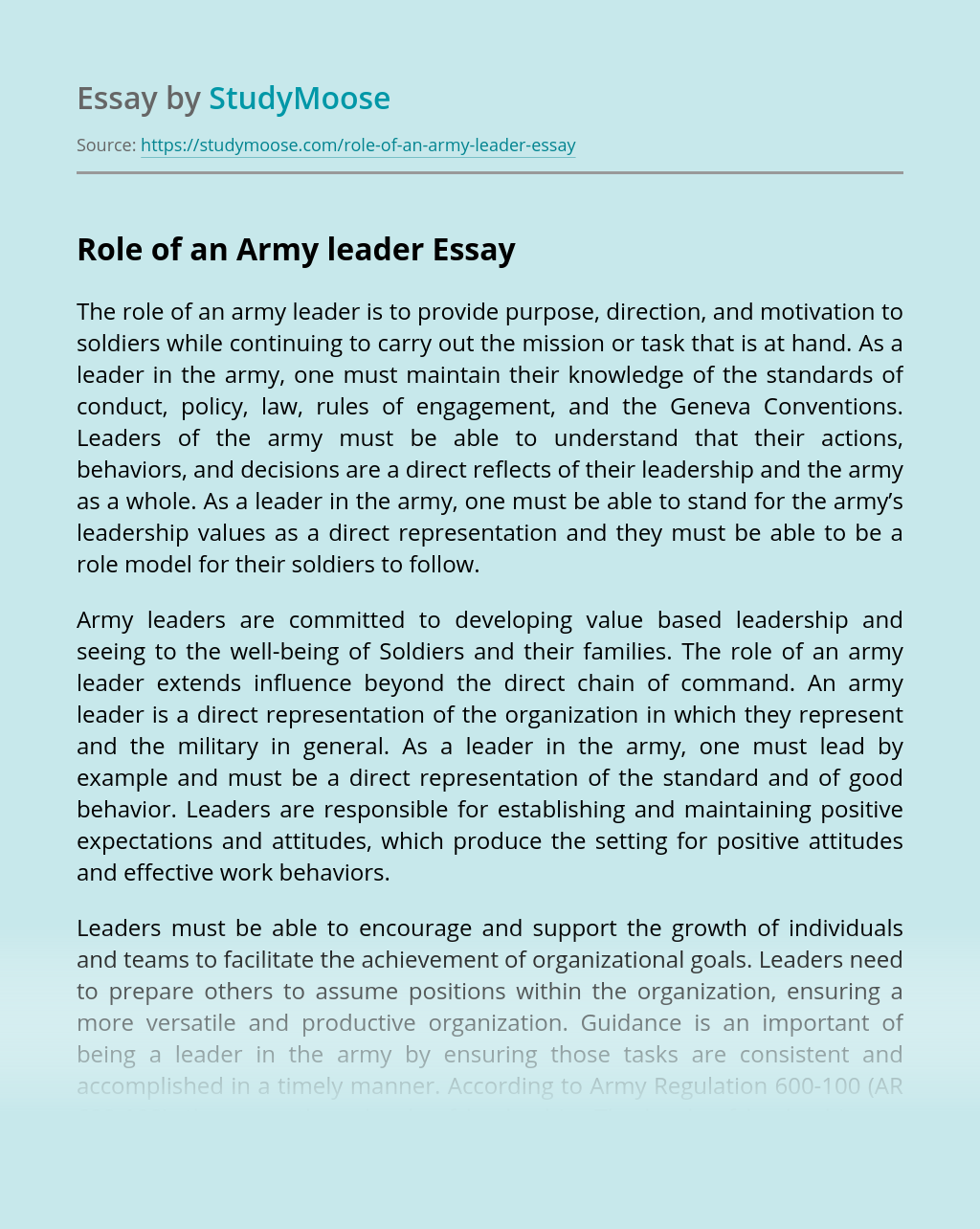 Role of an Army leader