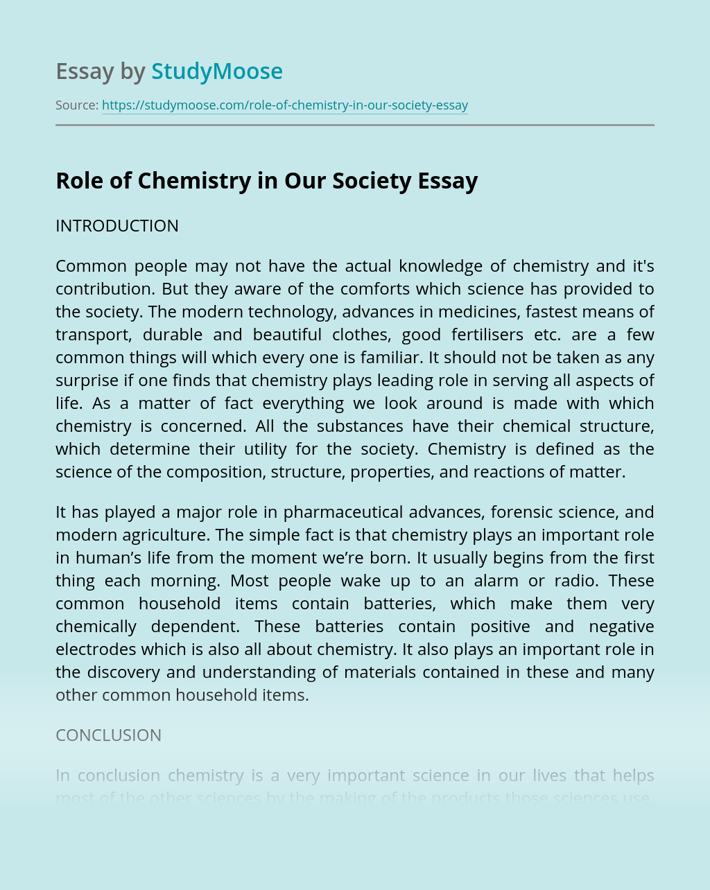 Role of Chemistry in Our Society