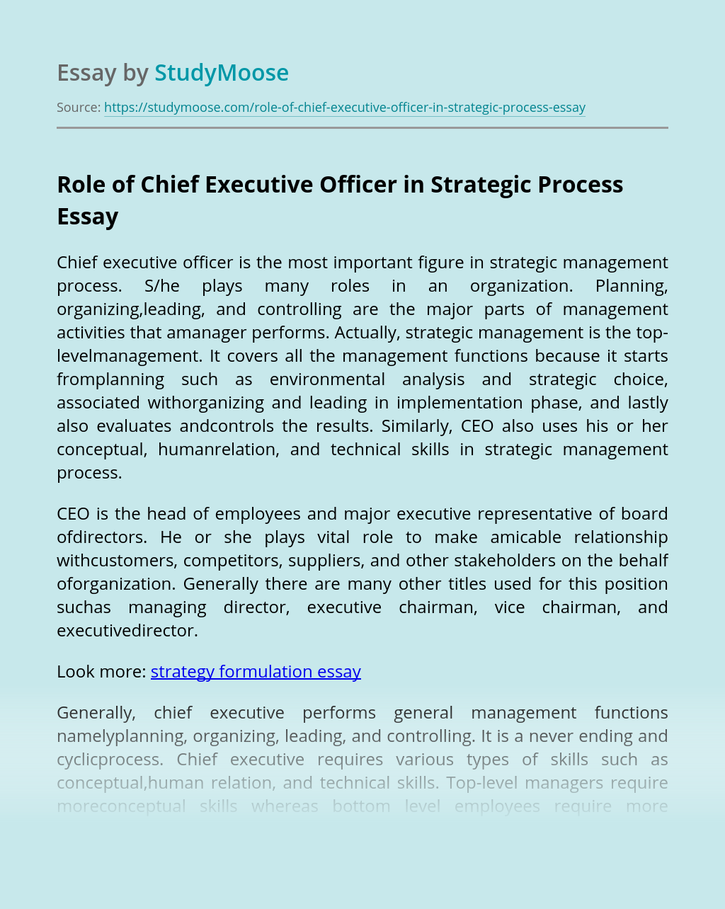 Role of Chief Executive Officer in Strategic Managment