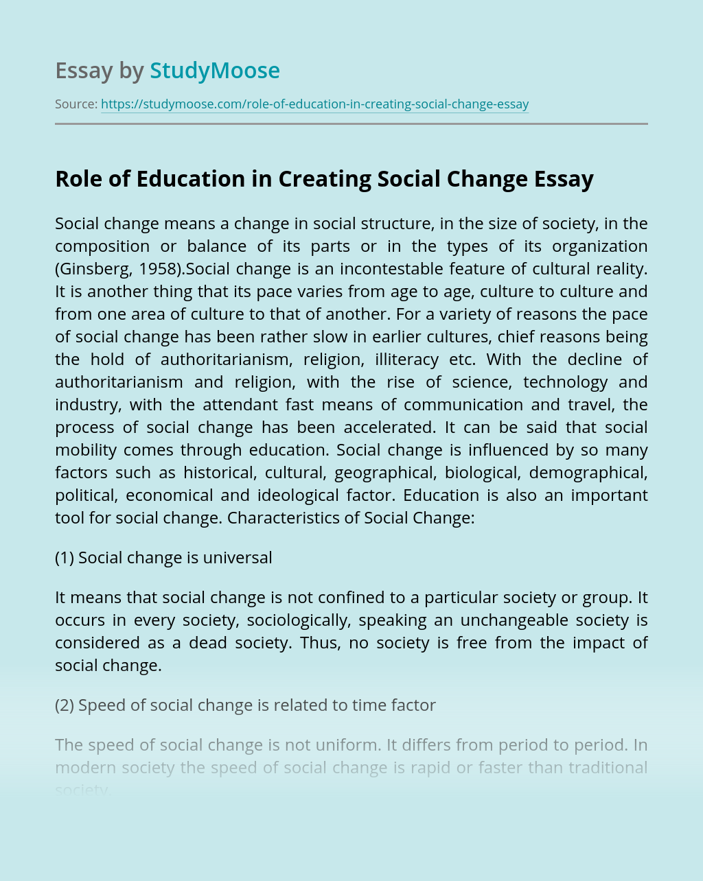 Role of Education in Creating Social Change