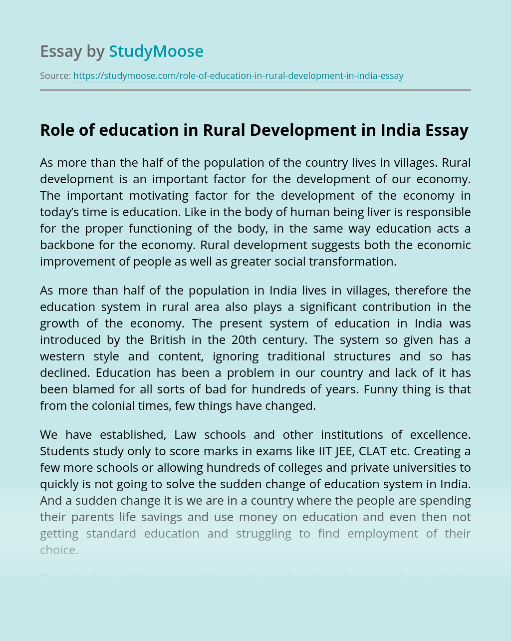 Role of education in Rural Development in India